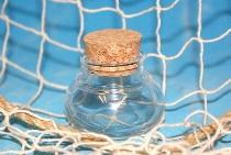 Leere bauchige Flasche ca.4x5cm Glas