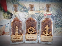 Flasche mit Bernstein Nordsee