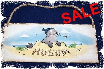 """Schild Seehund in Sandburg """"Husum"""""""