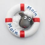 Magnet Rettungsring mit Schaf Moin Moin ca.6cm