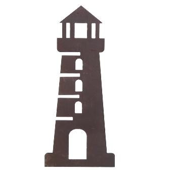 Naturrost Wandobjekt Leuchtturm Metall