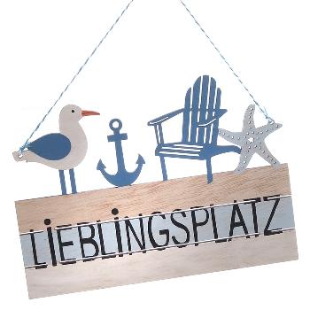 Schild Lieblingsplatz Maritim ca.22x16cm Sperrholz