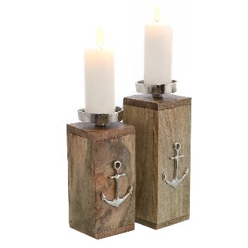 Kerzenständer Anker Mangoholz natur
