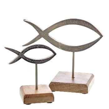 Alu line Metall Fisch auf Stand
