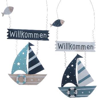 Hänger Segelboot Willkommen 2-fach sort.