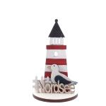 Deko Leuchtturm Nordsee mit Möwe