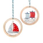 Anhänger Segelschiffe im Holzring