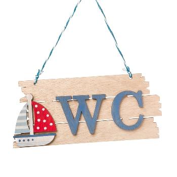 Schild WC mit Segelboot