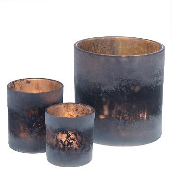 Teelichtglas gefrostet nachtblau
