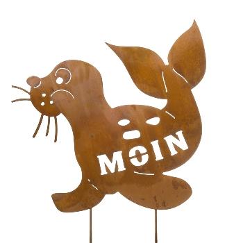 Stecker Seehund Moin Metall Naturrost ca.65x65x84cm