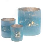 Teelichtglas aqua gefrostet innen antik-gold