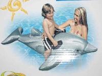 Aufblastier Delphin grau ca. 175x66 cm Kunststoff