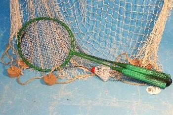 Federballspiel ca.60cm Metall