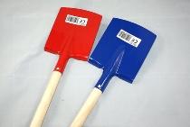 Metallkinderspaten rot blau ca.60cm Holzstiel