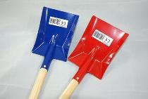 Metallkinderschaufel rot blau ca.60cm Holzstiel