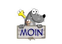 "Hösti Aufkleber 15x15cm ""Moin"""