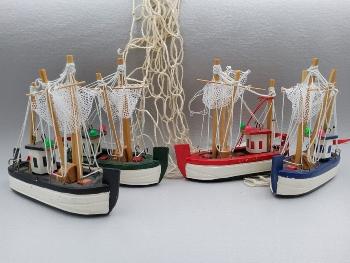 Fischkutter mit Netz, ca 12,5 cm Holz