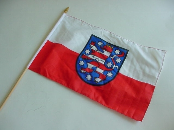 Stockflagge Thüringen ca. 37x27 cm