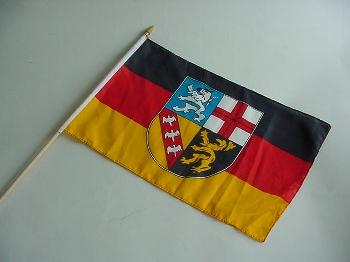 Stockflagge Saarland ca. 37x27 cm