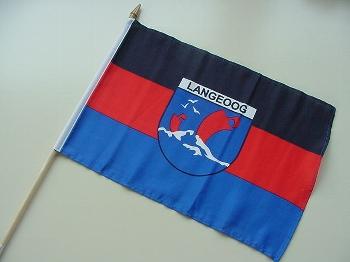 Stockflagge Langeoog Wappen