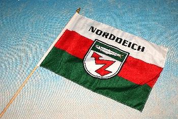 Stockflagge Norddeich ca. 37x27 cm