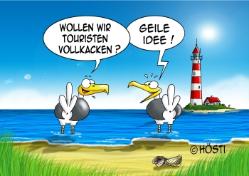 Stockflagge Touristen vollkacken