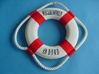 Rettungsring rot/weiß 35 cm Styropor/Baumwolle