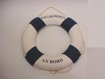 Rettungsring blau/weiß 50 cm Styropor/Baumwolle