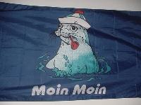 Flagge Seehund/Pfeife Moin Moin 150x90