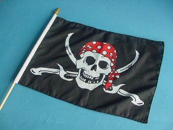 Stockflagge Pirat / Säbel ca. 37x27 cm