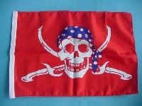 Stockflagge Pirat/Säbel rot/blau