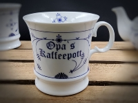 Herrenbecher Indisch Blau Opas Kaffeepott Porzellan