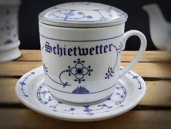 Kräuterteetasse Indisch Blau Schietwetter Porzellan