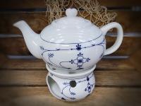 Teepott und Stövchen Indisch Blau Inhalt 0,75 l ca. 16 cm