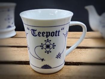 Konischer Becher Indisch Blau Teepott Porzellan ca. 8x10cm
