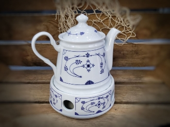 Teekanne 0,4 l/ Stövchen Set Indisch Blau Porzellan