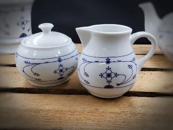 Zucker/Sahne-Set Indisch Blau ca.8x8x8cm Porzellan