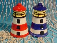 Salz/Pfeffer Set Leuchtturm ca. 8 cm blau/rot sortiert Keramik