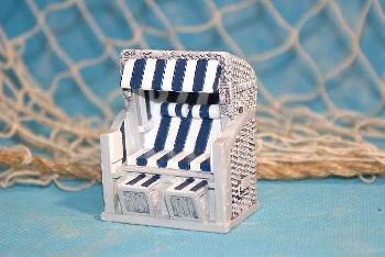 Strandkorb blau/weiß Poly ca.5x4x6 cm