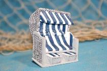 Strandkorb blau/weiß Poly ca.6x5 cm Magnet