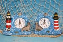 Leuchtturm mit Seehund und Uhr ca.12cm 2-fach sort. Poly