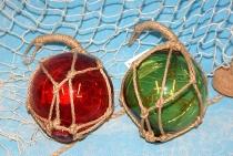 Fischerkugel 10 cm Grün - Rot sortiert Glas