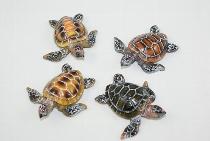 Schildkröte 4-fach sort. ca.5x5cm Polystone