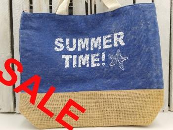 Strandtasche Summertime blau/beige ca.50x14x42 cm