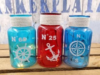 Flasche LED 3-fach sort. ca.7x13cm Glas