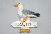 Möwe auf Schild Moin Magnet ca.7x8cm Polystone