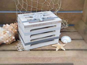 Holzserie grau/weiß Kiste ca.14x11x9cm