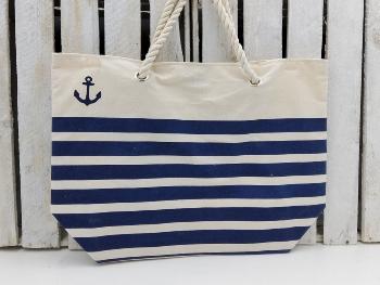 Strandtasche blau gestreift kleiner Anker