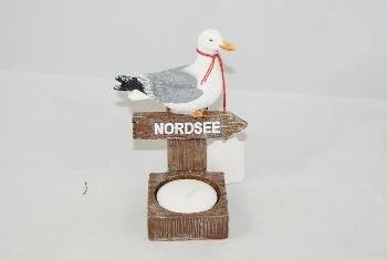 Möwe Teelichthalter Nordsee ca.7x11x6cm