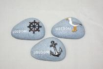 Steine Usedom als Magnet 3-fach sort. ca.7x5cm